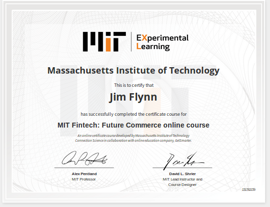 My MIT Fintech Credentials – Technophile Musings
